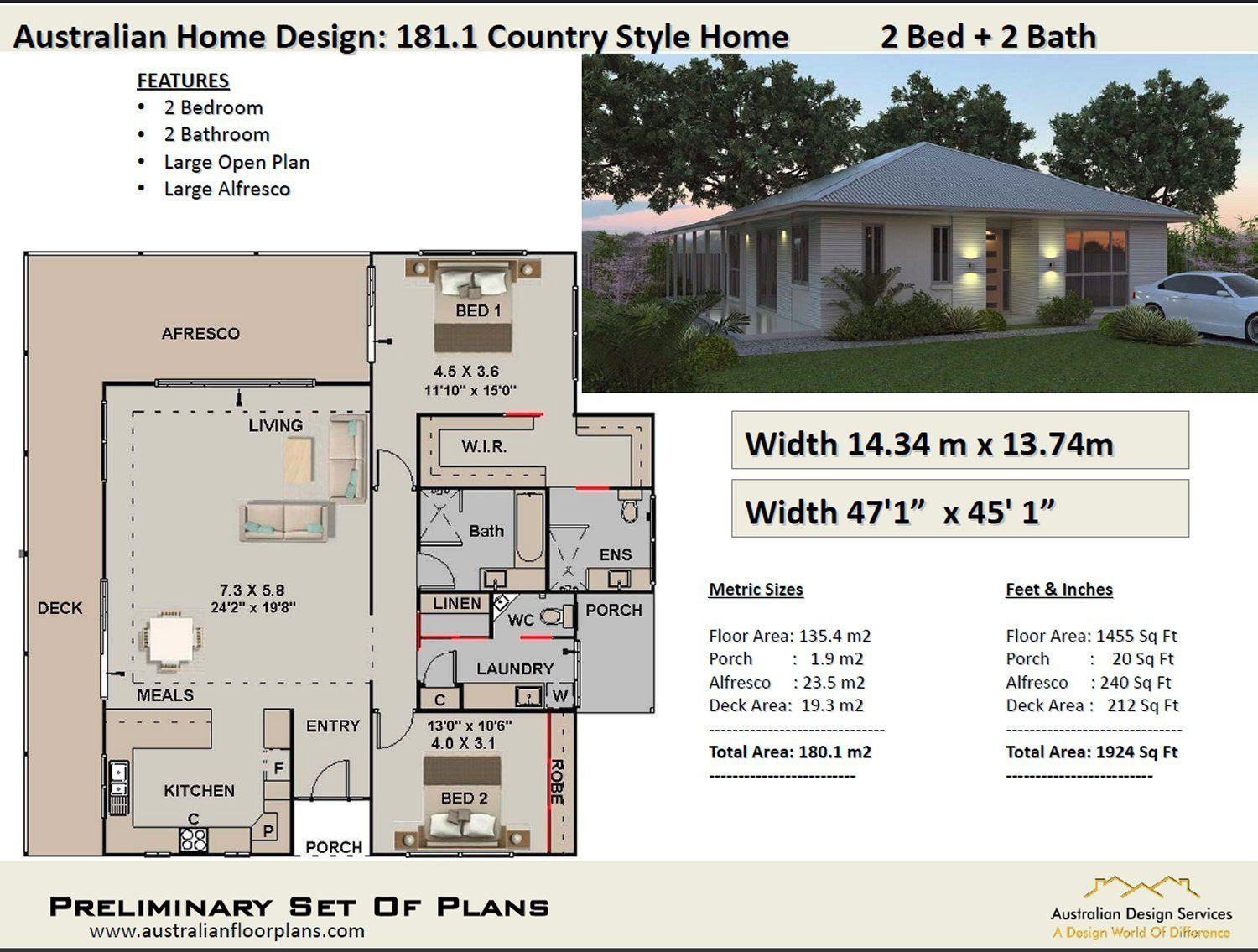 Country Homestead 2 Bedroom House Plans 180m2 1924 Sq Ft Etsy In 2020 House Plans Australia 2 Bedroom House Plans Country House Plans