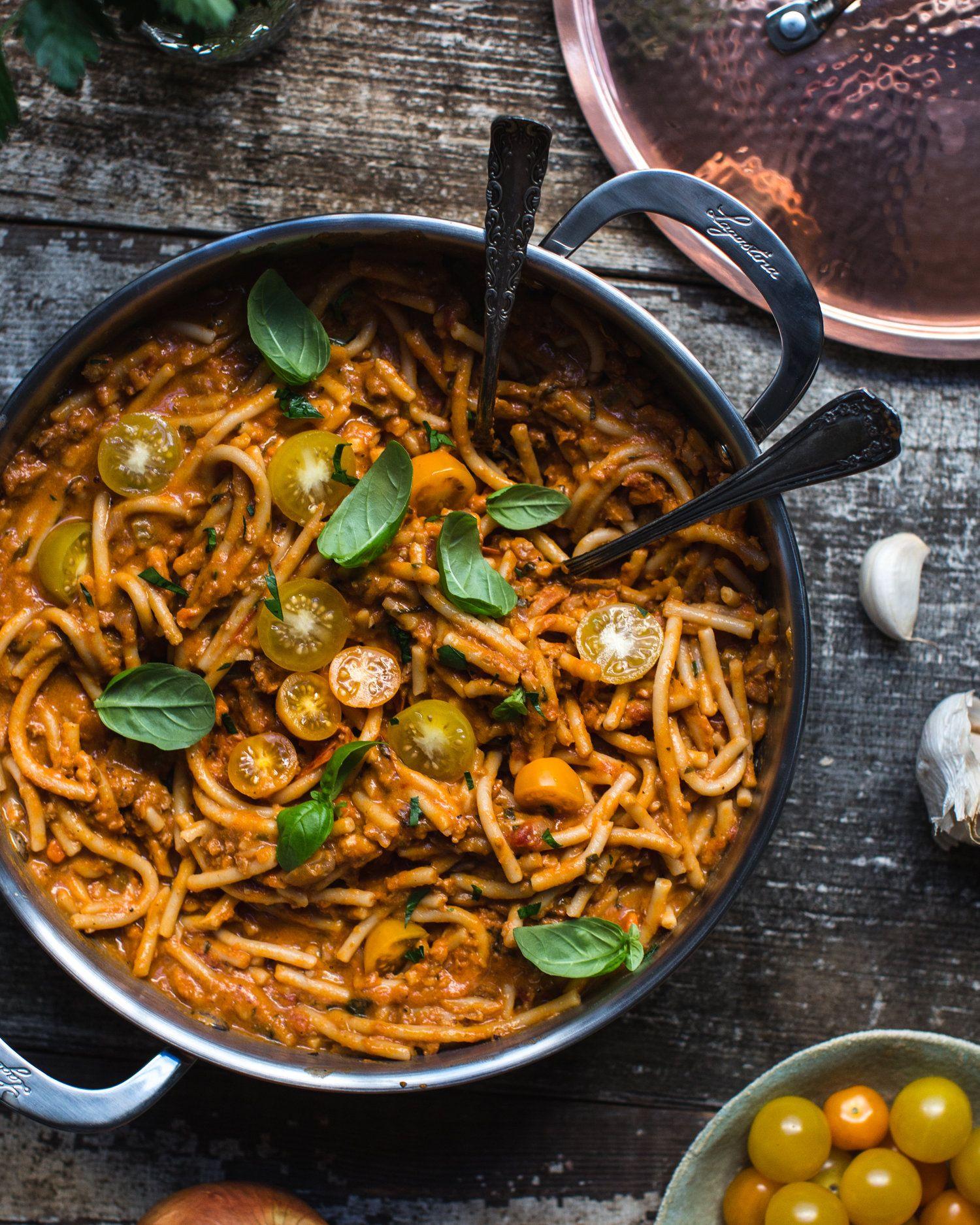 One Pot Pasta Bolognese Vegan Dinners One Pot Pasta