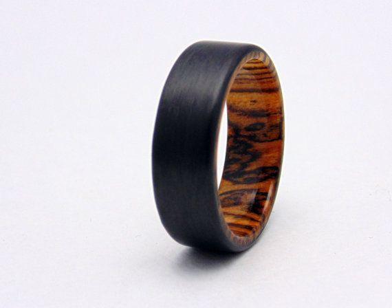 Bocote Wood And Carbon Fiber Ring Carbon Fiber Wedding Band Wood