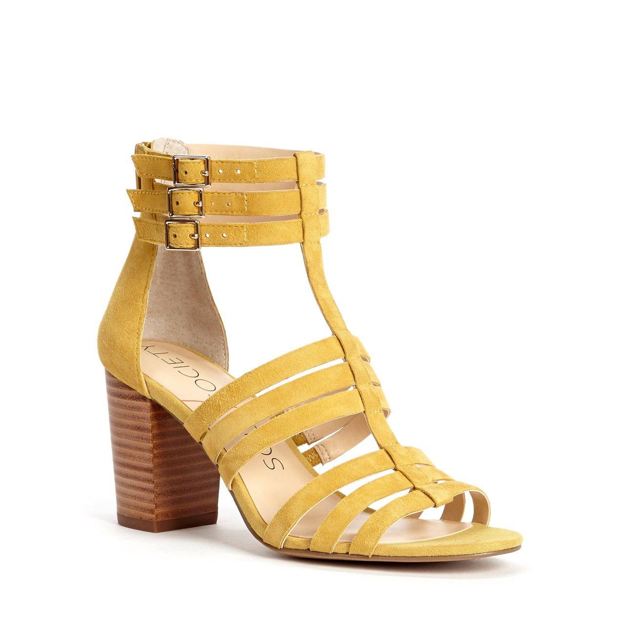 Sole Society Elise Mustard Yellow Suede Gladiator Block Heel Sandals NEW