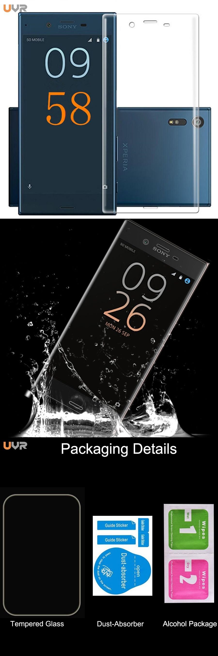 UVR 3D Full Cover Screen Protector Tempered Glass For Sony Xperia XZ1 pact XZ X