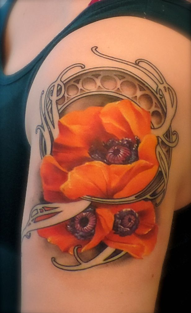 Art Nouveau Tattoo Nouveau: Art Nouveau Oriental Poppy Tattoo