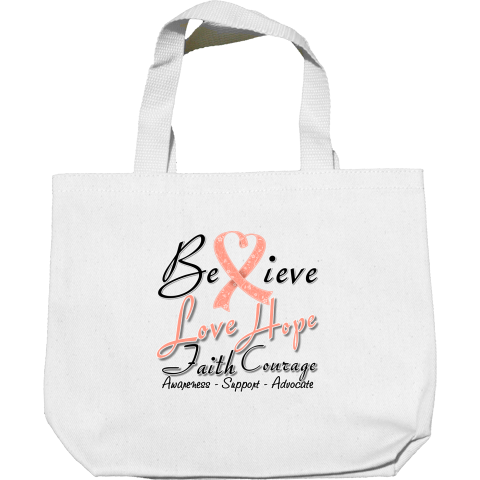 Uterine Cancer Believe Love Hope Faith and Courage Mini Tote Bags #UterineCancer #HeartRibbonGifts #UterineCancerAwareness
