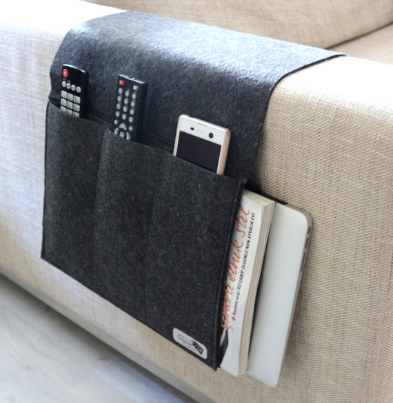 Charcoal Color Felt Sofa Organizer Pocketed Armrest Organizer