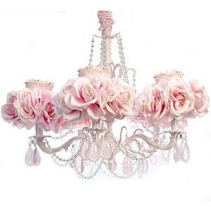 5-Arm Light Pink Chandelier, luxury nusery lighing, floral lighing ...
