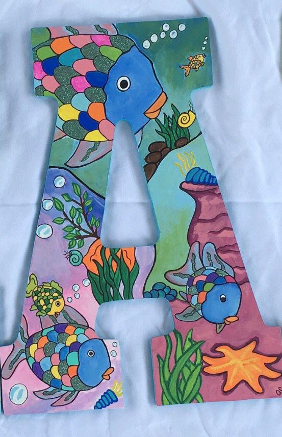 Handpainted 13in Wooden Letter Rainbow Fish Theme Rainbow Fish Dinosaur Stuffed Animal Fishing Theme