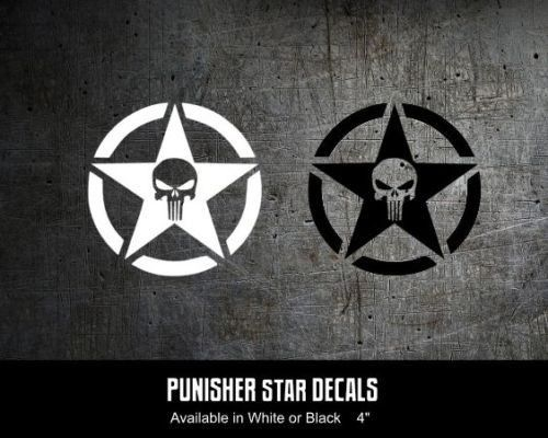 Punisher us army star 4x4 jeep military wrangler cj tj vinyl decal sticker