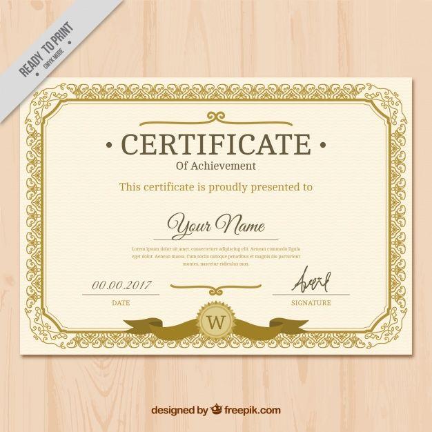 Download Vintage Golden Classic Certificate For Free Free Certificate Templates Certificate Templates Certificate Design Template