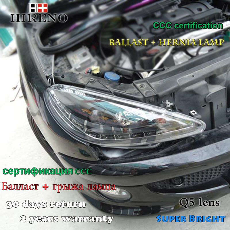 Hireno Car styling Headlamp for 2004-2008 Peugeot 206