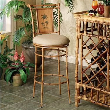 Royal Palm Tree Swivel Bar And Counter Stools