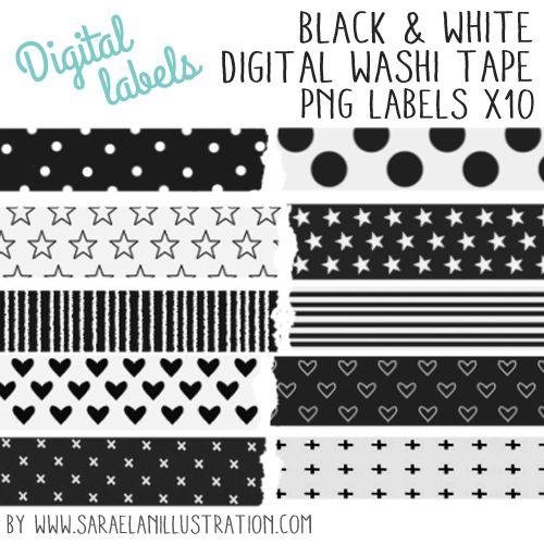 Download digital washi tape labels by Saraelanillustration #washitape #blackandwhite #download #graphics