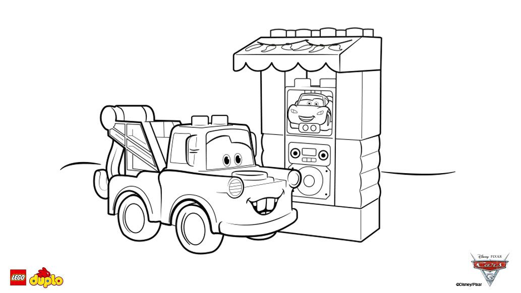 LEGO® DUPLO® Cars 3 Tow Mater Coloring page Coloring Pages * Boys - copy coloring pages transportation vehicles
