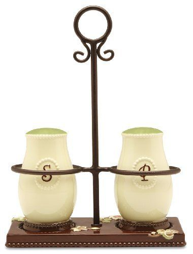 Shared Blessings Salt and Pepper Shaker with Holder by Pavilion Gift Company. $20.00. Microwave and dishwasher safe. Salt and pepper shaker and holder. Brown, sage green, cream and coral with floral pattern. Material: ceramic. Share your Blessings with family and friends. This fancy Salt and Pepper Shaker with Holder will look nice on any table setting. Pavilion Gift Company's Shared Blessings is the perfect addition to any dinner party. Each piece features touching sentim...