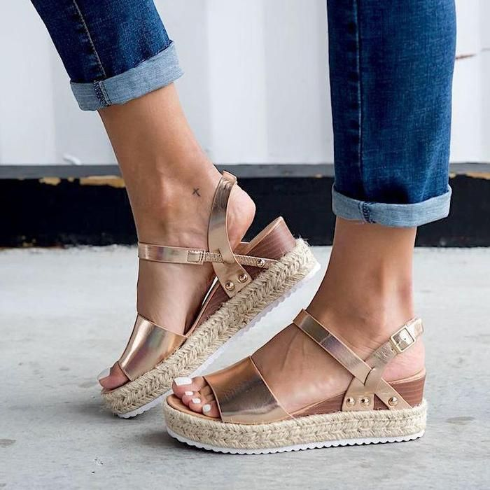 Espadrille Open Toe Thick Bottom Sandals is part of Sandals - 1 inch   2 54 cm  Select a suitable size depending on your feet length  If your measurement is between two sizes, always move up to the larger size    Size