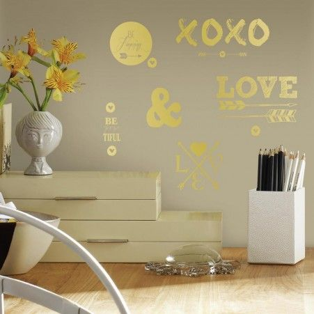Gold Love With Hearts And Arrows Wall Decals Roommate Wall - Wall decals gold