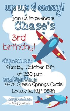 Airplane birthday party invitation airplanes party invitations airplane birthday party invitation filmwisefo
