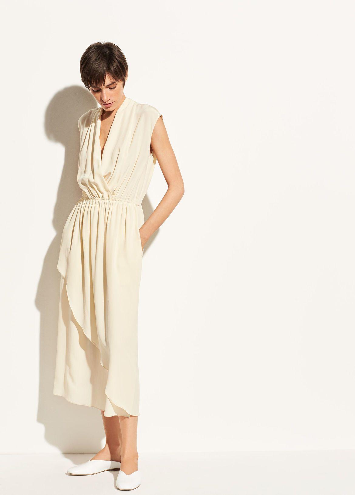 Women S Dresses Jumpsuits Vince Cross Front Dress Silk Dress Dresses [ 1628 x 1170 Pixel ]
