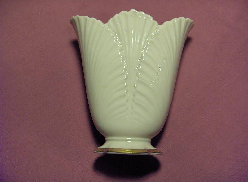 Vintage Lenox China Ivory Gold Rim Fan Vase Gold Rims Lenox China Lenox