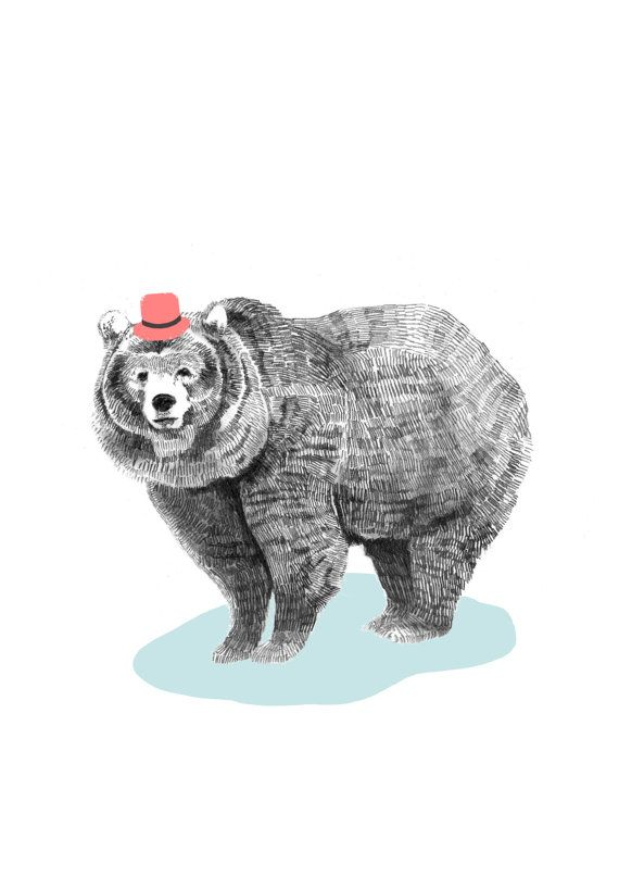 Bear in a Hat - High Quality print from original Ilustration