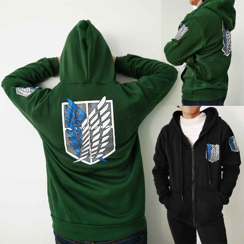 Anime Attack on Titan Shingeki no Kyojin Hoodie Sweatshirts Zipper Coat Jacket