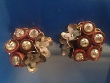 VINTAGE SIGNED MIRIAM HASKELL ART GLASS BEADS CRYSTAL FLOWERS CLIP EARRINGS NICE