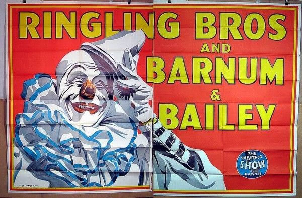 Vintage Original 1945 Billboard Ringling Bros Barnum Bailey Circus Clown Poster
