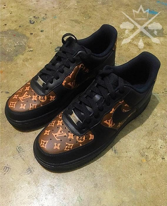 a9d5214fef65 Nike Louis Vuitton LV Black Air Force 1 One Low Luxury