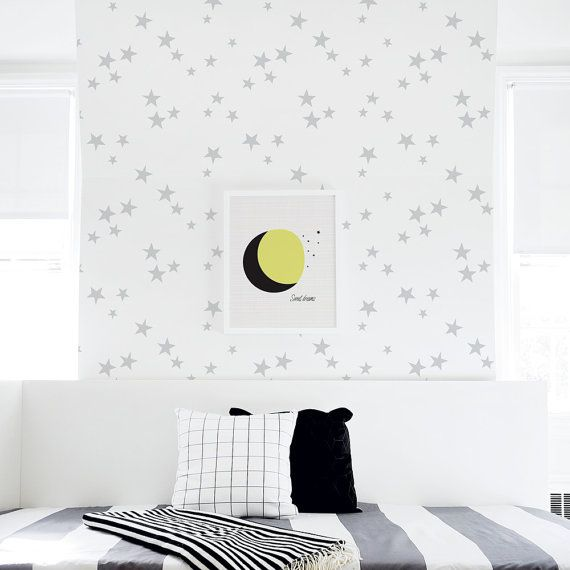 Removable Wallpaper Gray Stars L And Stick Nursery Baby Self Adhesive Seeing
