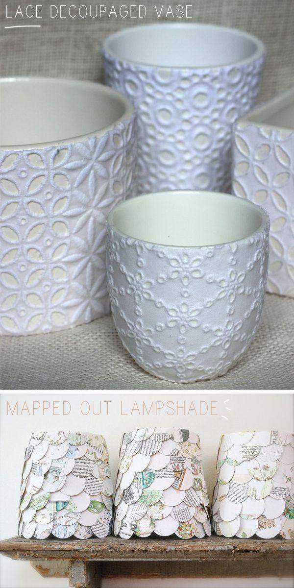 lamparinas vasos tecidos