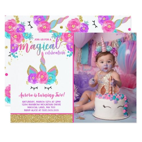 Magical Unicorn Birthday Invitation Unicorn Party   Zazzle com - Pink invitations, Unicorn birthday, Rainbow unicorn birthday, Unicorn birthday invitations, Rainbow unicorn birthday invitations, Unicorn invitations - Magical Unicorn Birthday Invitation The Glitter effect within this design is a digital image made to look like real glitter   High quality and still gorgeous, but no actual real glitter will be used in the making of this product   All designs are © PIXEL PERFECTION PARTY LTD