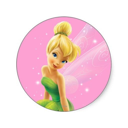 Tinker bell pose 20 round stickers disney tinkerbell stickers round fairy character