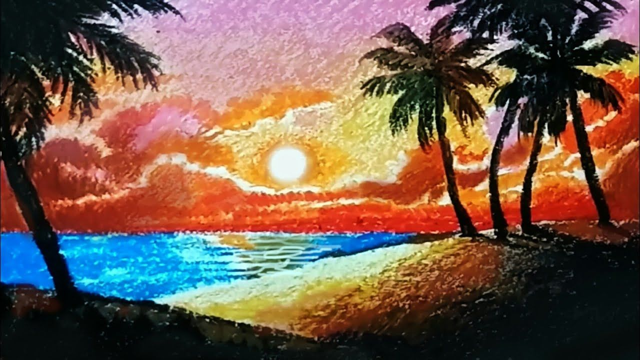 How To Draw Scenery With Oil Pastels For Beginners Simple Landscape Dr Oil Pastel Drawings Landscape Drawing Easy Drawing Scenery