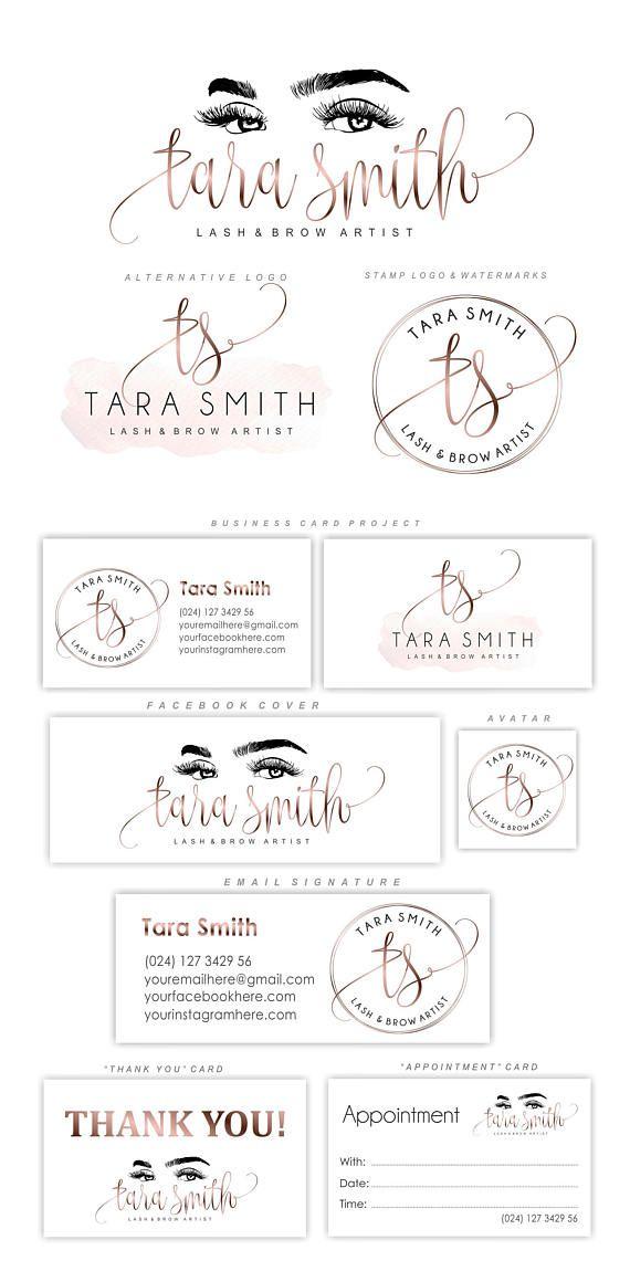 Lash Logo Design Eyelash Branding Kit Lash Extensions Logo Cosmetic Logo Lash Watermark Beauty Salon Makeup Design Gold Rose Eyes 72 Makeup Artist Business Cards Artist Business Cards Artist Logo