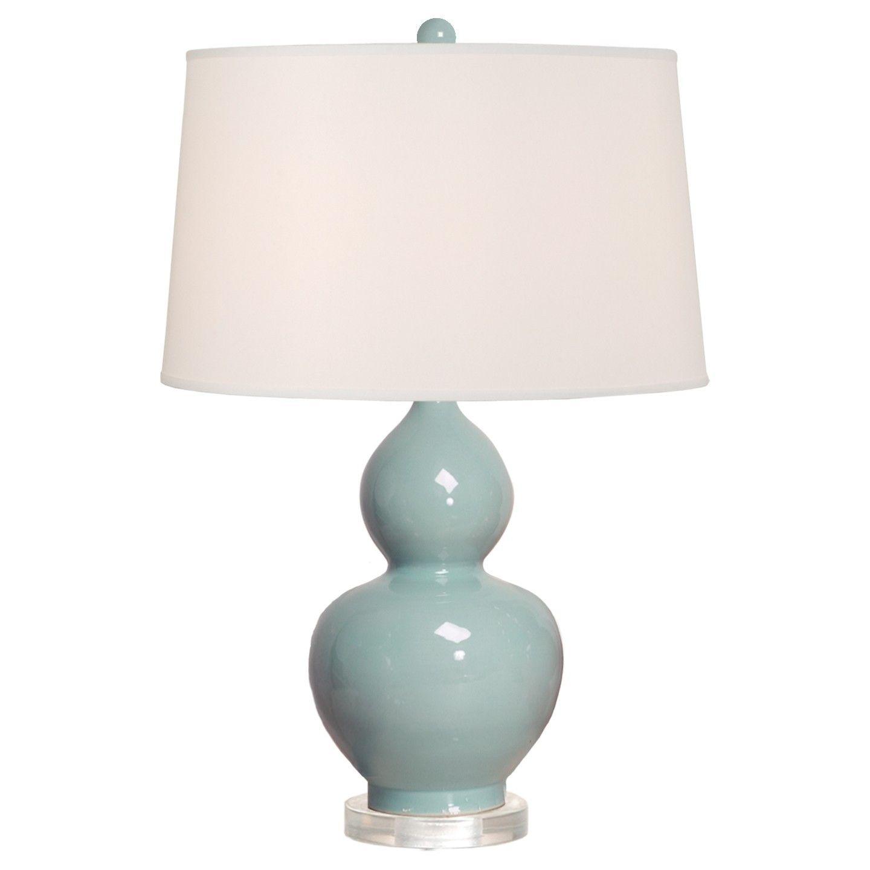 Attractive Misty Blue Crackle Gourd Vase Lamp