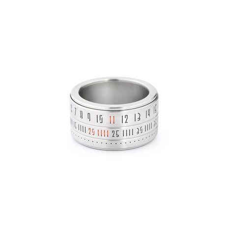 Ring Clock // Metal Ring + Orange LED (Size: 8)