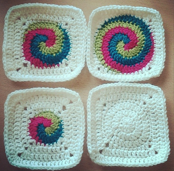 Free Pattern For Spiral Squares Crochet Muster Pinterest