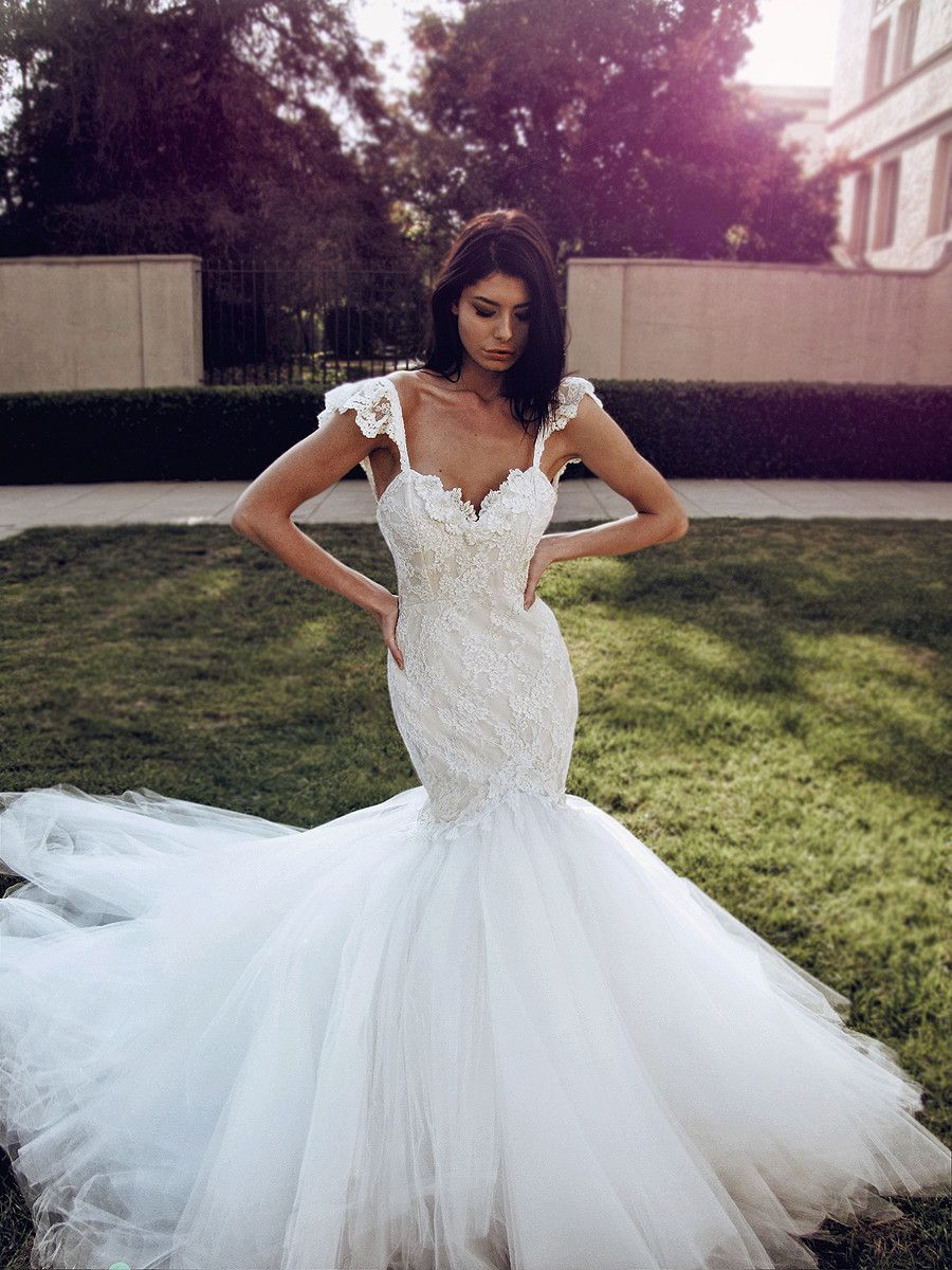 Lace mermaid wedding dress with train  Sexy formfit lace mermaid wedding gown with sweetheart bodice and