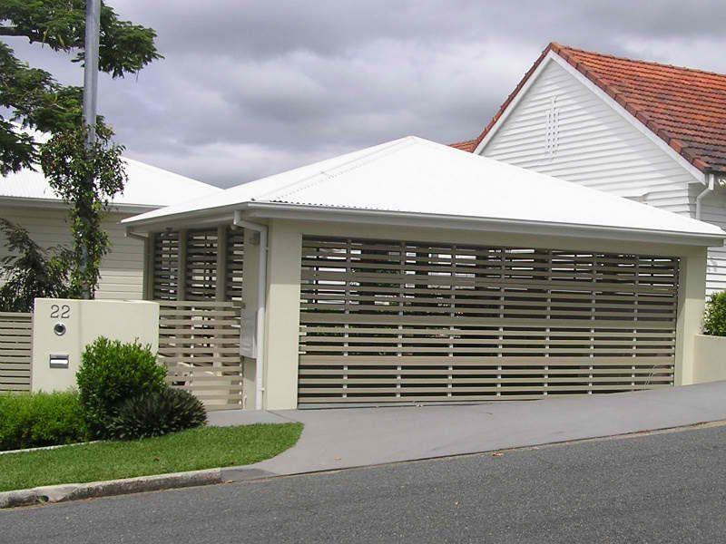 Custom made horizontal slatted aluminium garage door