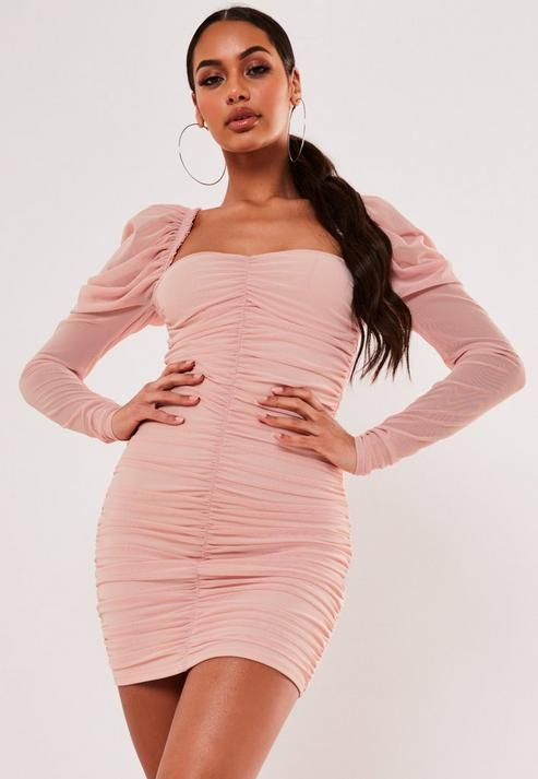 Missguided - Blush Mesh Ruched Mini Dress