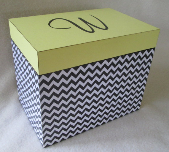 Large 5x7 Recipe Box Personalized Greeting Card Storage Wooden Shower Gift