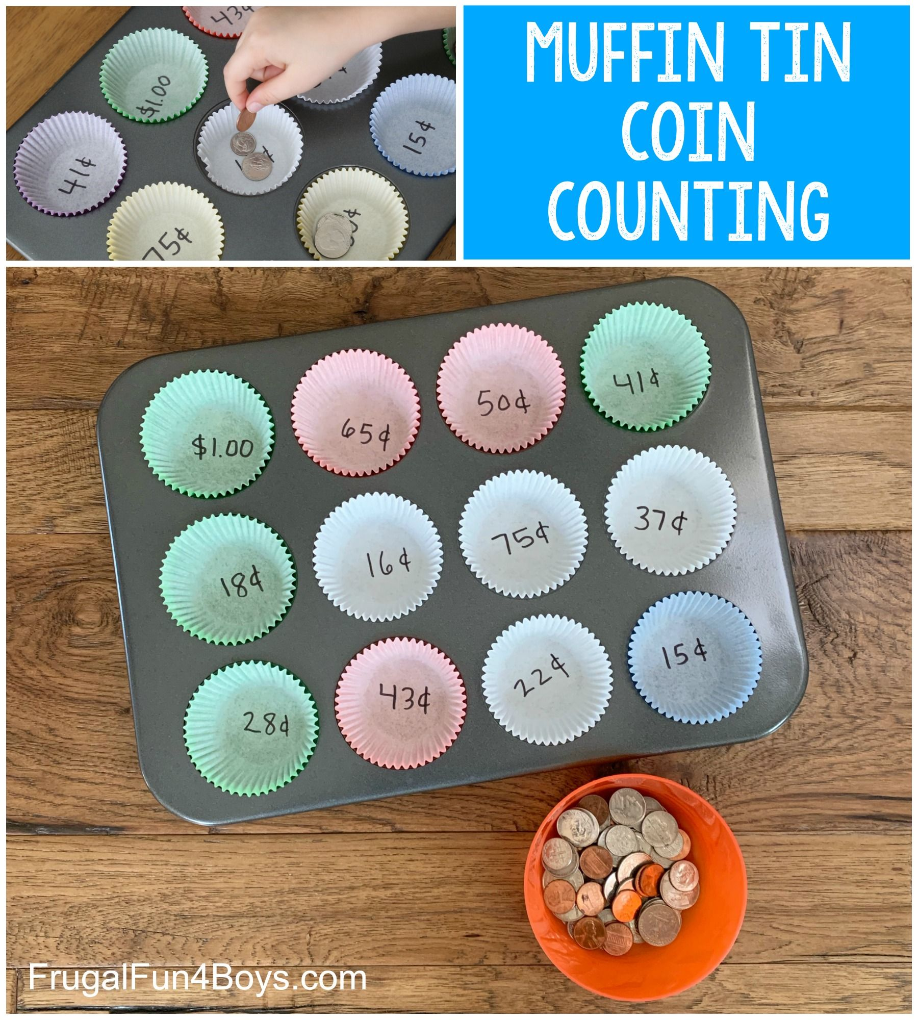 Muffin Tin Coin Counting Activity
