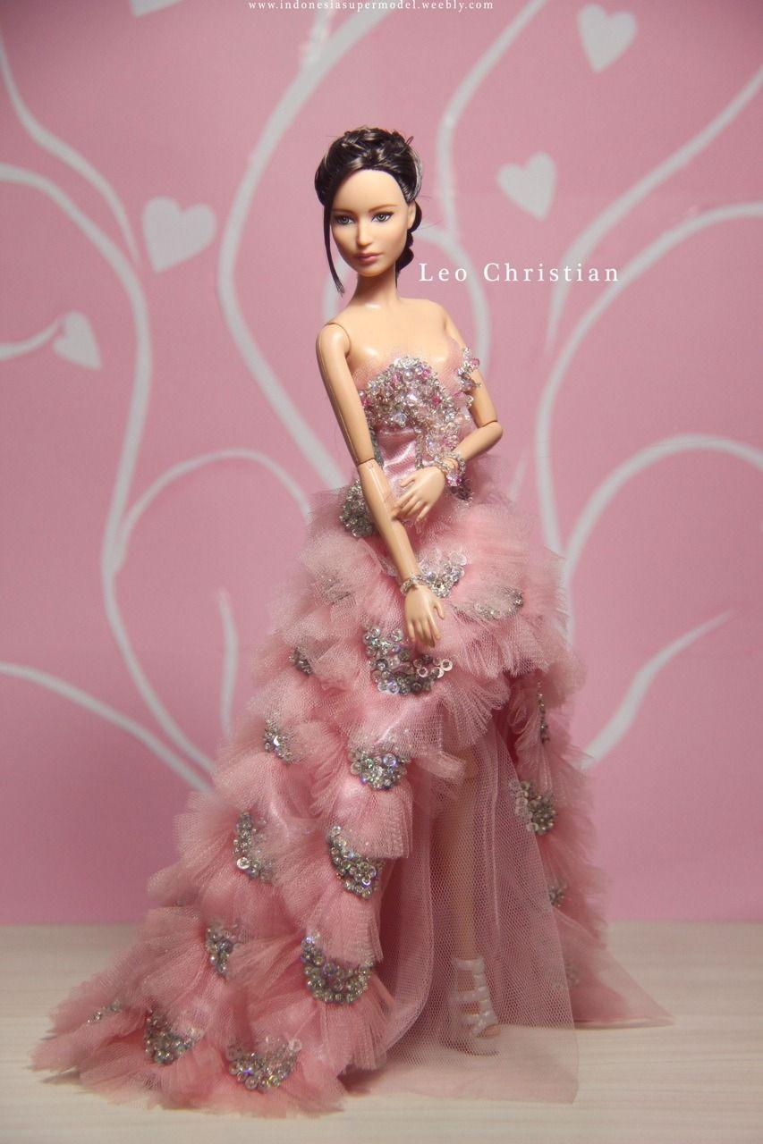 Katniss Everdeen Barbie in Pink Handmade Dress by Leo Christian ...