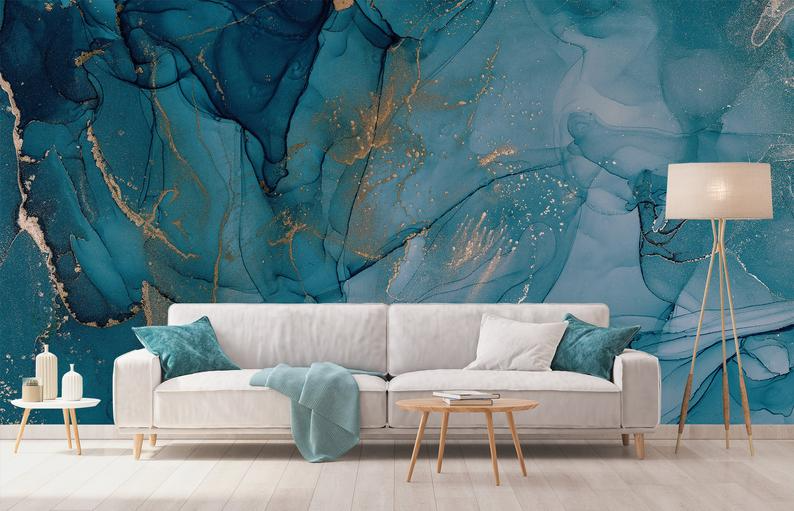 Watercolor Blue Marble Wallpaper Abstract Turquoise And Gold Etsy Blue Marble Wallpaper Marble Wallpaper Watercolor Wallpaper