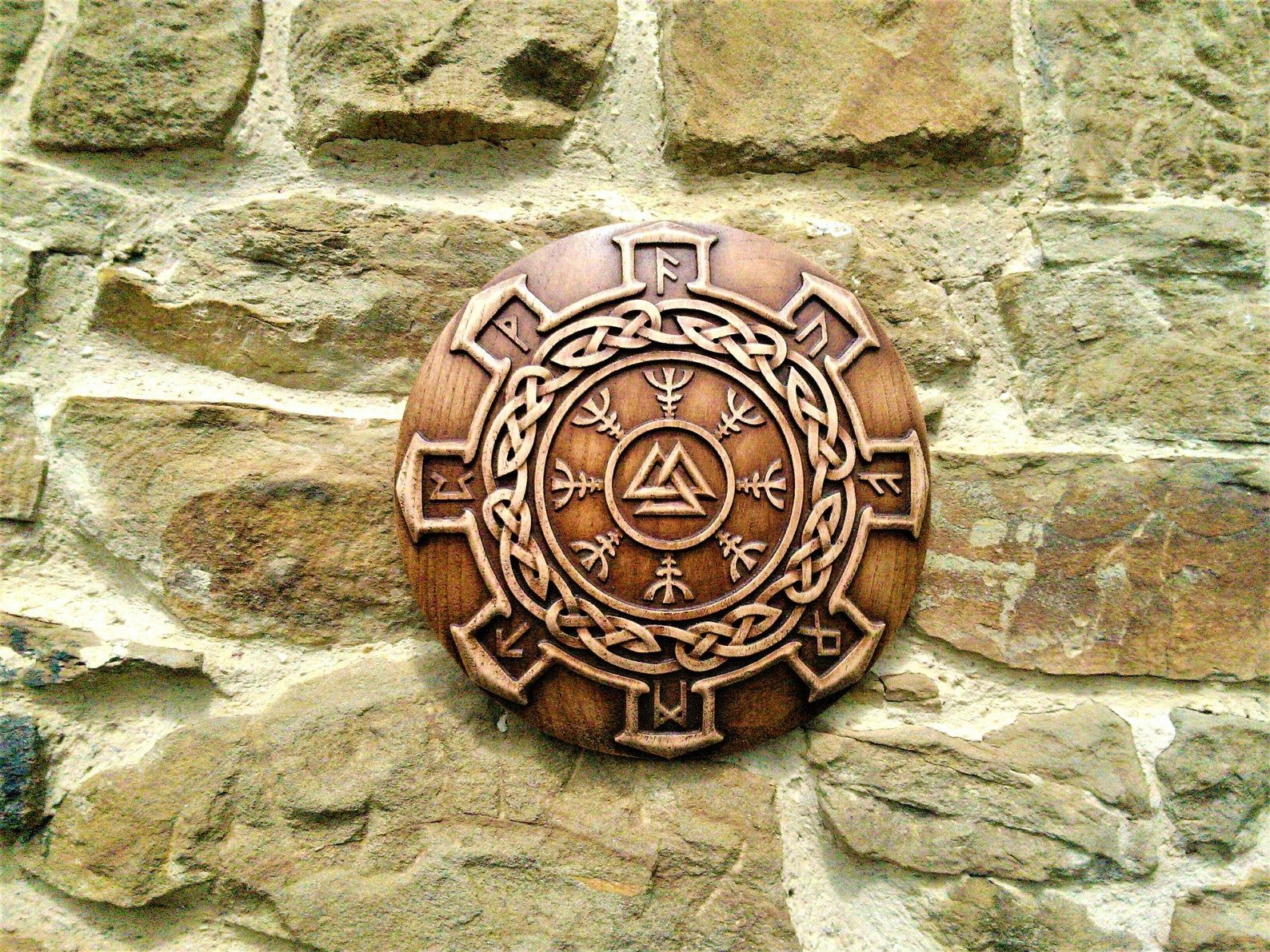 Walknut Viking Symbol Plaques Home Decor Art Norse Thor Odin Wood Picture Pagan Gods Carving Heathen Asatru Celtic Norse Rune Wall Hanging