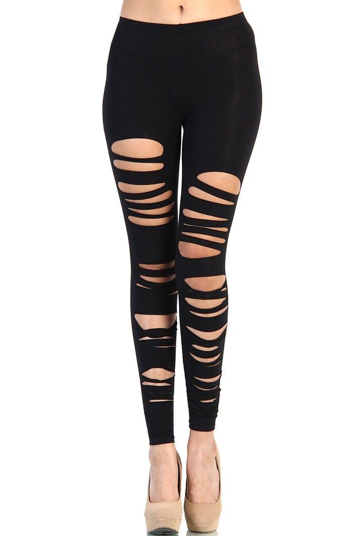 Ripped Cut out Leggings - Black | OMGLeggings.com ...