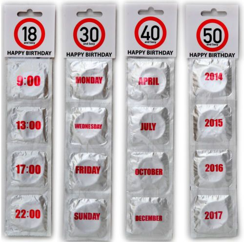 Novelty Joke Condoms Happy 18th,30th,40th,50th,60th