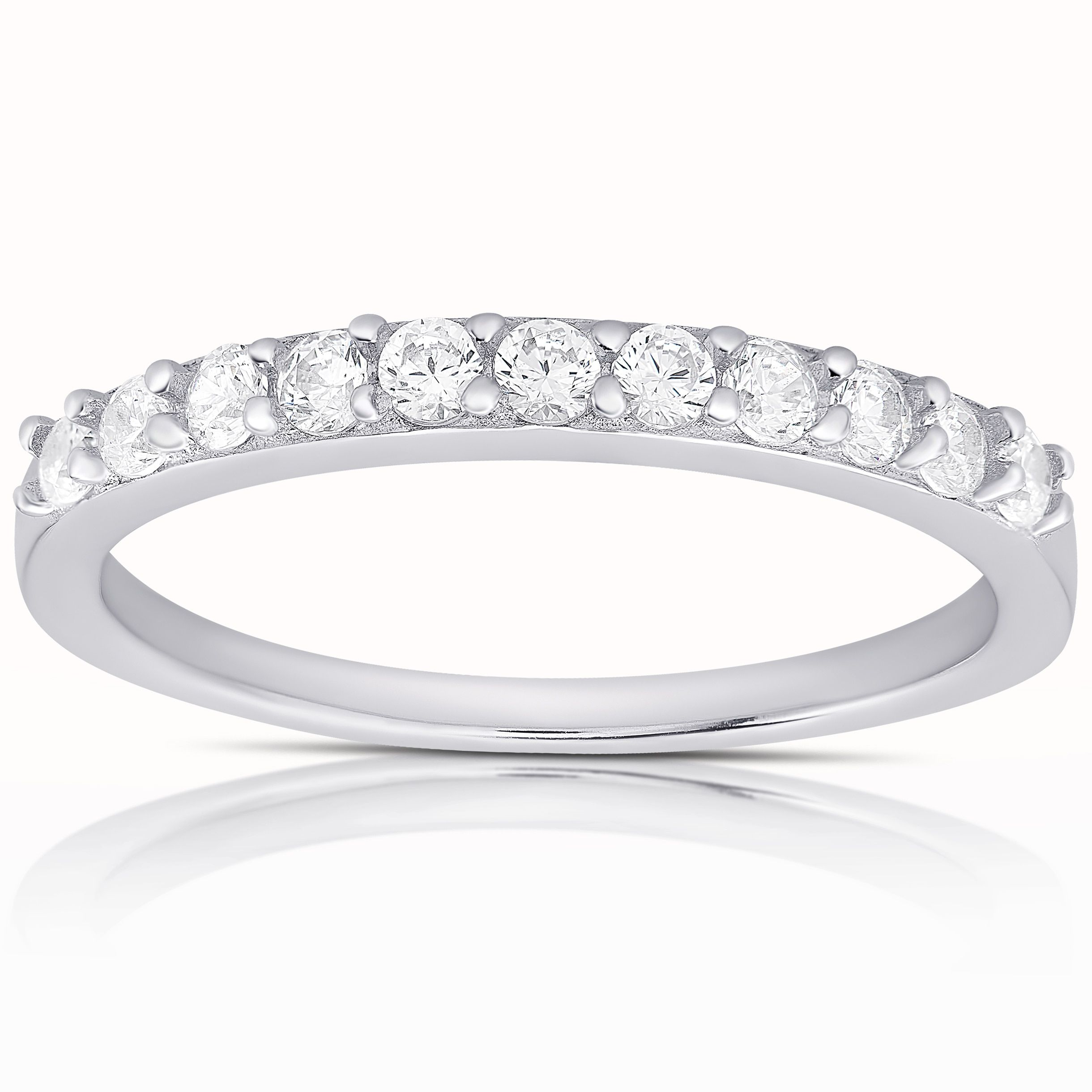 Dolce Giavonna Sterling Silver Cubic Zirconia Band Ring
