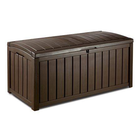 Keter Glenwood Outdoor Plastic Deck Storage Box 101 Gal Brown Patio Storage Patio Storage Bench Plastic Box Storage