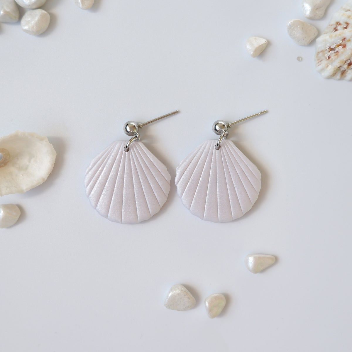 Striped Muted Tones Polymer Clay Post Earrings Gifts Handmade Striped Polymer Clay Posts Striped Studs Small Striped Earrings