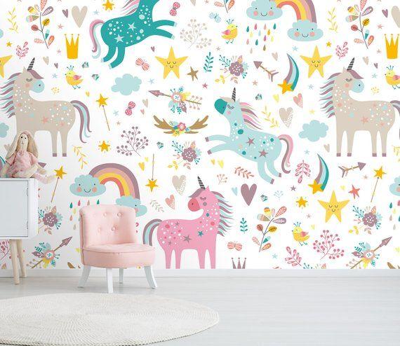 Unicorn Kingdom 190 View Wallpaper Mural Wall Print Decal Wall Etsy Kids Bedroom Wallpaper Kids Room Wallpaper Kids Wallpaper